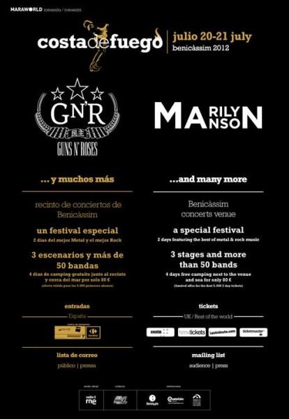 Festival Costa de Fuego, con Guns N´Roses y Marilyn Manson en Benicassim