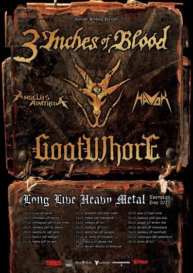 Angelus Apatrida, 3 Inches Of Blood, Goatwhore, Havok, inician un Tour por Europa.