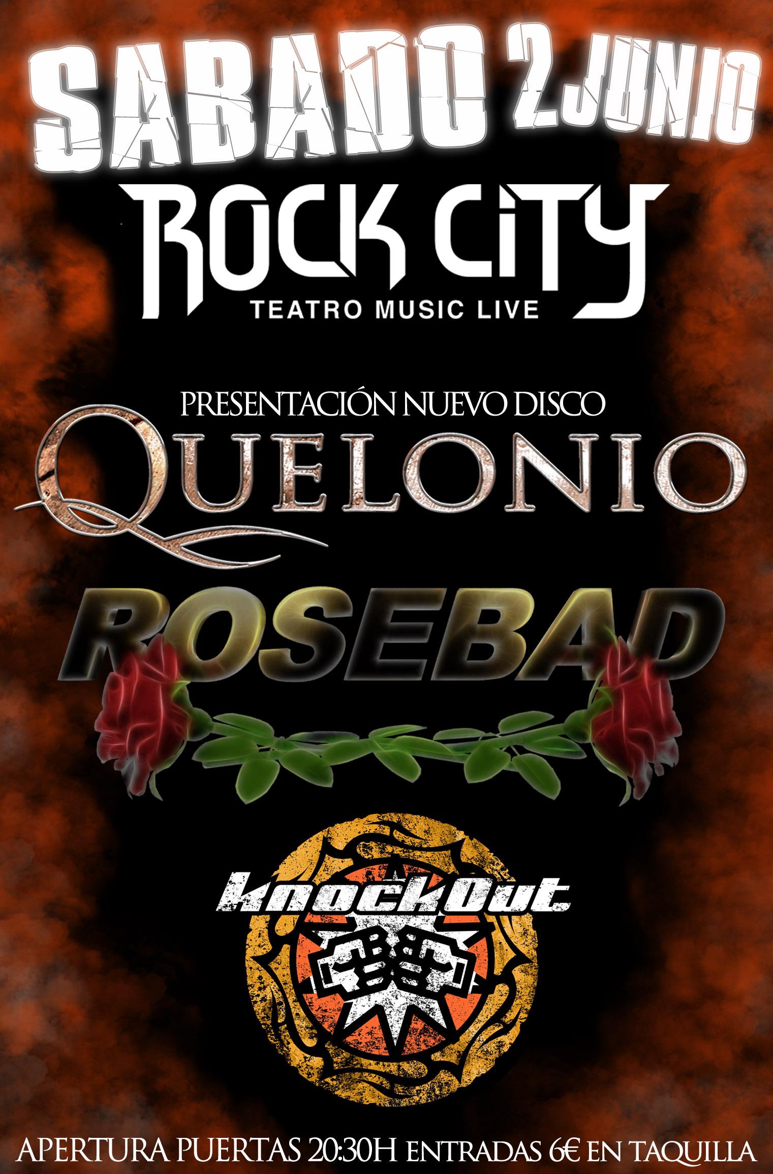Knockout, Rosebad y Quelonio en concierto el 2 de Junio en Valencia