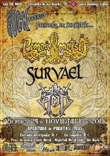 Survael en concierto junto a Pimeä Metsä y Heid el 29 de Noviembre en Madrid
