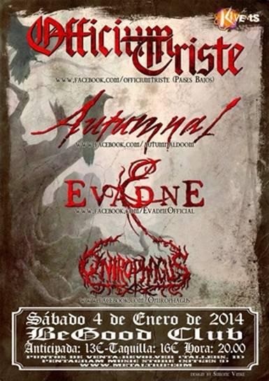 Officium Triste, Autumnal, Evadne y Onirophagus en Barcelona el 4 de Enero