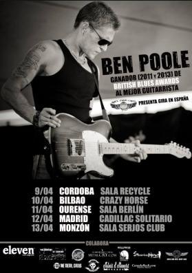 La nueva revelación del bluesrock británico de Ben Poole por primera vez en España
