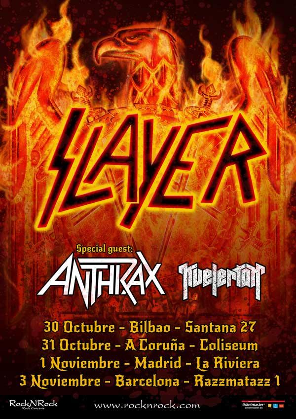 SLAYER estará de gira por nuestro país junto a ANTHRAX y KVELERTAK