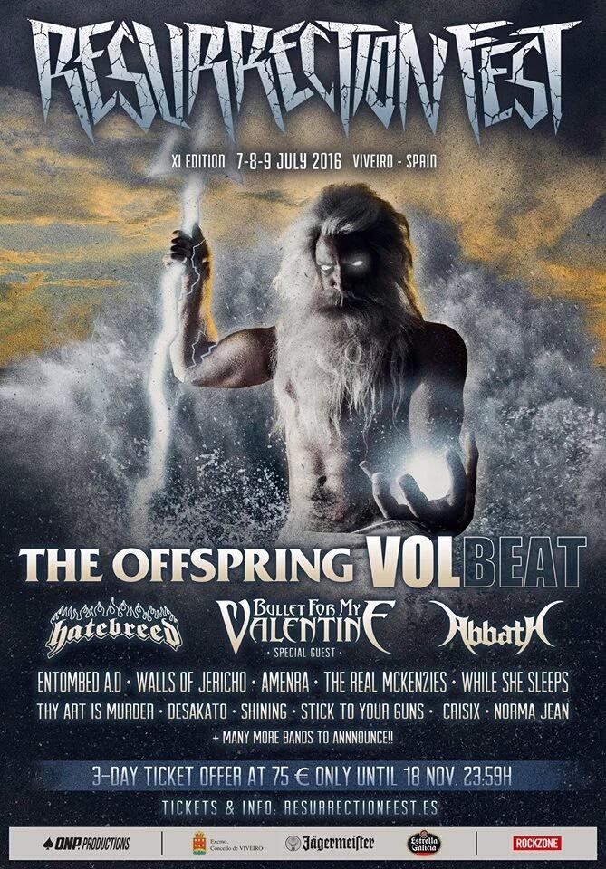 Primeras bandas del Resurrection Fest 2016: The Offspring, Volbeat, Bullet For My Valentine, Abbath y Hatebreed